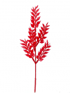 "13"" Artificial Plastic Ruscus Fern Pick x 5 - Red (lot of 12) SALE ITEM"