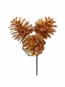 "1.5"" Gold Pine Cone Pick x 3 (Lot of 1 Bag - 12 Picks Per Bag) SALE ITEM"