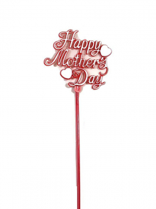 Happy Mother's Day Decoration, Sign, Pick, Cake Topper - Red (Lot of 12) SALE ITEM