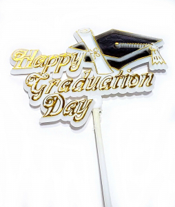 Happy Graduation Day Decoration, Sign, Pick, Cake Topper - White/Gold (Lot of 12) SALE ITEM