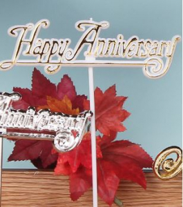 Happy Anniversary Decoration, Sign, Pick, Cake Topper - White/Gold (Lot of 12) SALE ITEM