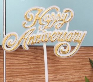 Happy Anniversary Decoration, Sign, Pick, Cake Topper - White/Bold Gold (Lot of 12) SALE ITEM