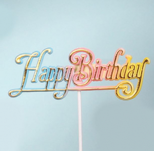 Happy Birthday Decoration, Sign, Pick, Cake Topper - Multi-Color Rainbow (Lot of 12) SALE ITEM