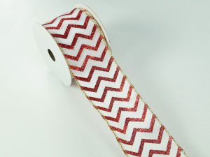 Wired Christmas Ribbon w/ Gold Edges - Red / White Zig Zag Pattern, 2.5 inch x 10 yards (Lot Of 1 Spool) SALE ITEM