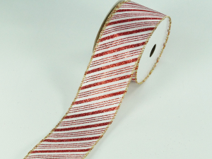 Wired Christmas Ribbon w/ Gold Edges - Red / White Candy Cane Stripe Pattern, 2.5 inch x 10 yards (Lot Of 1 Spool) SALE ITEM