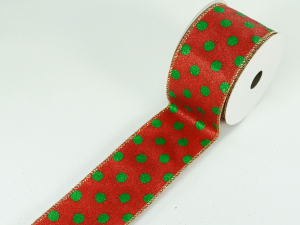 Wired Christmas Ribbon w/ Gold Edges - Red / Green Polka Dot Pattern, 2.5 inch x 10 Yards (Lot Of 1 Spool) SALE ITEM