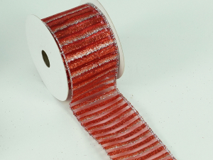 Wired Christmas Ribbon w/ Silver Edges - Red / Silver Stripe Pattern, 2.5 inch x 10 yards (Lot Of 1 Spool) SALE ITEM