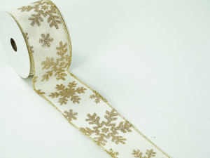 Wired Christmas Ribbon w/ Gold Edges - Sheer Ivory / Gold Snowflake Pattern, 2.5 inch x 10 yards ( Lot Of 1 Spool) SALE ITEM