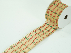 Wired Christmas Ribbon w/ Gold Edges - Sheer Gold w/ Red & Green Plaid, 2.5 inch x 10 Yards (Lot Of 1 Spool) SALE ITEM