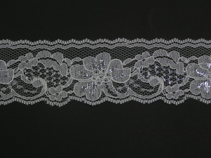 2 Inch Flat Lace, White - Silver (423 YARDS - FULL SPOOL)