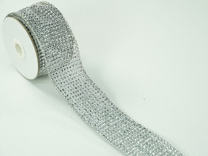 Wired Christmas Ribbon Silver Mesh Diamond Pattern, 2.25 inch x 3 Yards (Lot Of 1 Spool) SALE ITEM