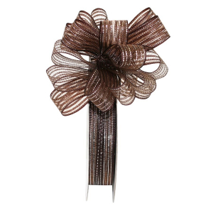 "Pull Bow Ribbon, Brown Silver, 5/8"" x 25 Yards (1 Spool) SALE ITEM"