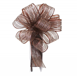 "Pull Bow Ribbon, Brown / Silver, 1"" x 25 Yards (1 Spool) SALE ITEM"