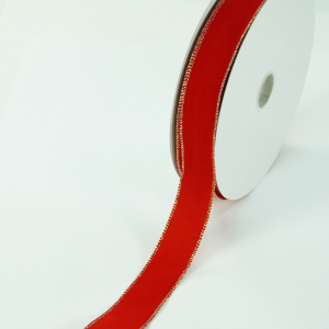 Red Velvet Wired Ribbon, Metallic Gold Edges 1.5 inch (50 yards/spool) SALE ITEM