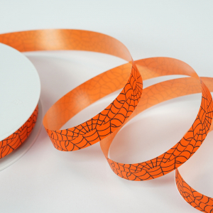 Halloween Printed Ribbon, 110 yards, Orange Black Spider Web, 3/4 Inch (Lot of 1 Spool = 110 Yards) SALE ITEM