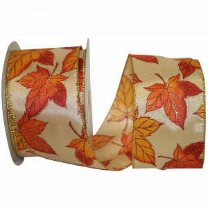 Autumn Leaves Printed Wired Edge Ribbon, Orange, 2-1/2 Inch, (20 Yards) SALE ITEM