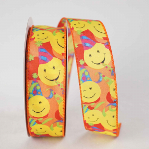 Party Smiley Faces - Printed Wired Edge Ribbon, Multi Color, 1-1/2 Inch, (25 Yards) SALE ITEM