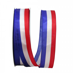 "Red, White, Blue ""Americana""  Wired, Satin, Patriotic Stripe Ribbon 1 ½ x 50 yds., (1 Spool) SALE ITEM"