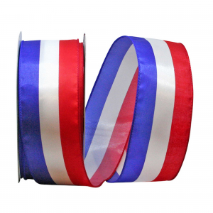 "Red, White, Blue ""Americana""  Wired, Satin, Patriotic Stripe Ribbon 2 ½ x 25 yds., (1 Spool) SALE ITEM"