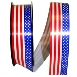 Patriotic Red White Blue Stars Stripes Ribbon 1 ½ Inch (38mm) x 109 yds. (100 meters), (1 Spool) SALE ITEM