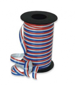 Patriotic Red White Blue Stripes Curling Ribbon 3/8 Inch x 275 yds., (1 Spool) SALE ITEM