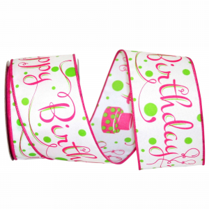 "Printed ""Happy Birthday"" Wired Ribbon, White with Pink Birthday Cakes & Fancy Font, 2 ½ Inch x 10 Yards (1 Spool) SALE ITEM"