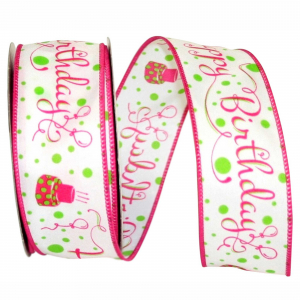 "Printed ""Happy Birthday"" Wired Ribbon, White with Pink Birthday Cakes & Fancy Font, 1 ½ Inch x 10 Yards (1 Spool) SALE ITEM"