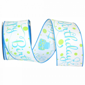 "Printed ""Happy Birthday"" Wired Ribbon, White with Blue Birthday Cakes & Fancy Font, 2 ½ Inch x 10 Yards (1 Spool) SALE ITEM"