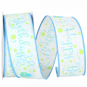 "Printed ""Happy Birthday"" Wired Ribbon, White with Blue Birthday Cakes & Fancy Font, 1 ½ Inch x 10 Yards (1 Spool) SALE ITEM"