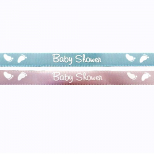 "Pink Satin Ribbon Printed w/ White Baby Feet ""Baby Shower"", 3/8 Inch x 25 Yards (1 Spool) SALE ITEM"