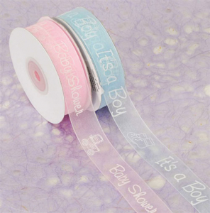 "Blue Organza Ribbon Printed w/ White Baby Feet ""It's a Boy"", 7/8 Inch x 25 Yards (1 Spool) SALE ITEM"