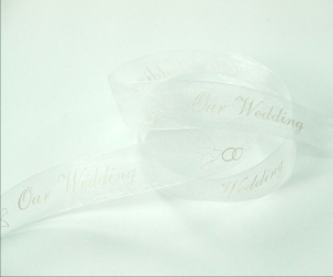 "White Organza Ribbon Printed w/ White Doves ""Our Wedding"", 7/8 Inch x 25 Yards (1 Spool) SALE ITEM"