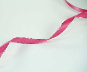 Double Face Satin Ribbon With Silver Edge, Fuchsia, 3/8 Inch x 50 Yards (1 Spool) SALE ITEM