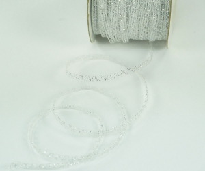 Silver Metallic Sparkly Sheer Nylon Ribbon 1/8 Inch x 100 Yards (1 Spool) SALE ITEM