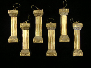 Gold Column Ornament, 5 inch (Lot of 1 Package - 6 Columns  Per Package) SALE ITEM