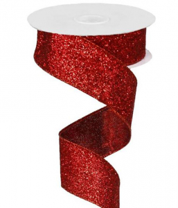 Red Metallic Glittered Wired Christmas Ribbon, 1.5 Inch x 10 Yards (Lot of 1 Spool) SALE ITEM