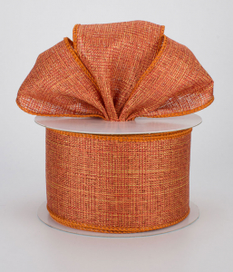 Copper Orange Metallic Wired Canvas Ribbon, 2.5 Inch x 10 Yards (Lot of 1 Spool) SALE ITEM