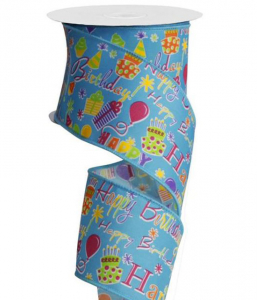 Happy Birthday Printed Wired Ribbon, Blue / Multi-Color, 2.5 Inch x 10 Yards (1 Spool) SALE ITEM