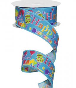 Happy Birthday Printed Wired Ribbon, Blue / Multi-Color, 1.5 Inch x 10 Yards (1 Spool) SALE ITEM