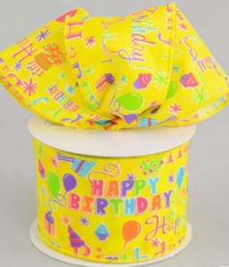 Happy Birthday Printed Wired Ribbon, Yellow / Multi-Color, 2.5 Inch x 10 Yards (1 Spool) SALE ITEM