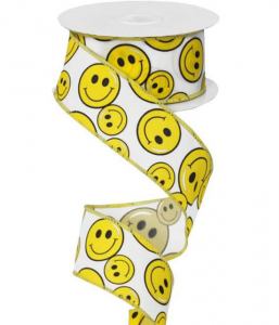 Yellow Smiley Faces - Printed Wired Edge Ribbon, White / Yellow, 1.5 Inch, (10 Yards) SALE ITEM