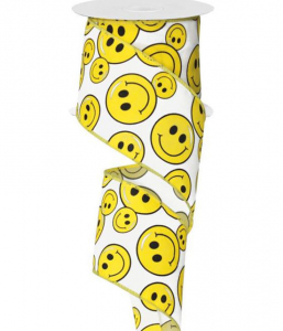 Yellow Smiley Faces - Printed Wired Edge Ribbon, White / Yellow, 2.5 Inch, (10 Yards) SALE ITEM