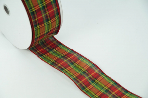 Wired Christmas Ribbon - Red / Green / Yellow plaid Fabric, 2.5 inch x 50 Yards (Lot Of 1 Spool) SALE ITEM