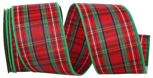 Wired Christmas Ribbon w/ Green Edges - Tradition EZ Plaid Pattern 2.5 inch x 10 Yards (Lot Of 1 Spool) MADE IN USA - SALE ITEM