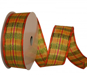 Wired Sheer Plaid Ribbon w/ Orange Edges - Yellow, Pink & Green Plaid, 1.5 inch x 25 Yards (Lot Of 1 Spool) SALE ITEM