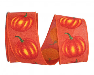 Printed Wired Edge Ribbon, Orange Linen Ribbon w/ Pumpkins Printed, 2-1/2 Inch, (20 Yards) SALE ITEM
