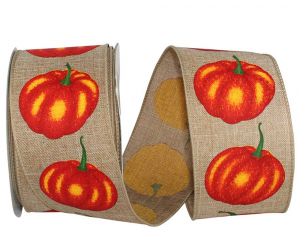 Printed Wired Edge Ribbon, Natural Linen Ribbon w/ Pumpkins Printed, 2-1/2 Inch, (20 Yards) SALE ITEM