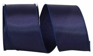 Wired Satin Ribbon - Navy Blue, 2-1/2 Inch x 10 yds., (1 Spool) SALE ITEM