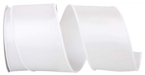 Wired Satin Ribbon - White, 2-1/2 Inch x 10 yds., (1 Spool) SALE ITEM