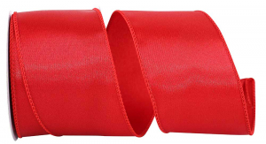 Wired Satin Ribbon - Red, 2-1/2 Inch x 10 yds., (1 Spool) SALE ITEM